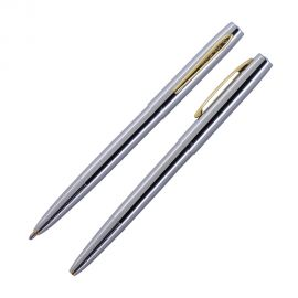 Fisher Space Pen Cap-O-Matic Chrome Ball Pen With Gold Clip