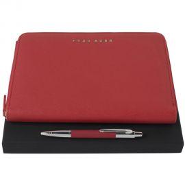 Hugo Boss Saffiano Red A5 Folder + Saffiano Red Ball pen